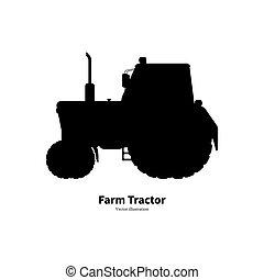 ferme, noir, silhouette, tracteur, agricole