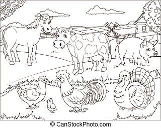 ferme, pédagogique, livre coloration, dessin animé
