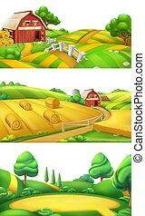 ferme, panorama, nature., illustration, ensemble, vecteur, paysage, 3d