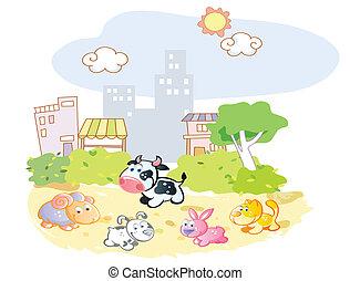 ferme, parc, animaux, jouer