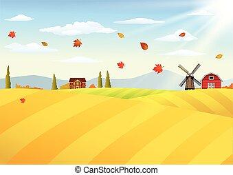 ferme, paysage automne