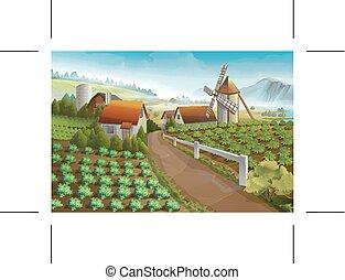 ferme, paysage rural, fond