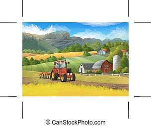 ferme, paysage rural, vecteur, fond