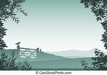 ferme, portail, paysage