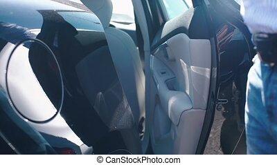 ferme, porte, main, voiture, ouvre
