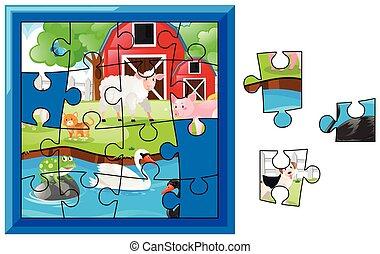 ferme, puzzle, puzzle, animaux, jeu
