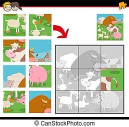 ferme, puzzles, puzzle, animaux, dessin animé