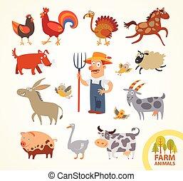 ferme, rigolote, peu, ensemble, animaux