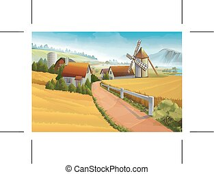 ferme, rural, vecteur, paysage, fond