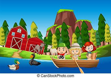 ferme, scène, bateau, enfants