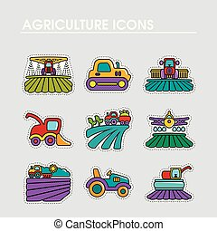 ferme, signe, champ, icon., agriculture, transport