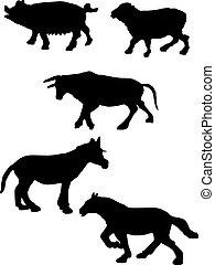 ferme, silhouettes, animaux