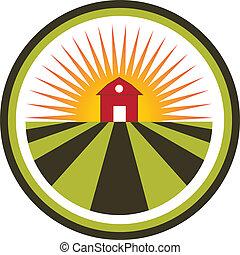 ferme, soleil, agriculture, paysage, logo