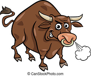 ferme, taureau, dessin animé, illustration, animal