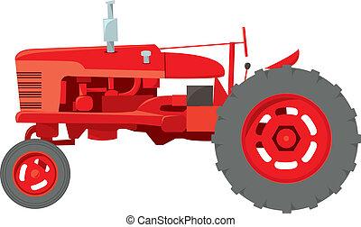 ferme, tracteur, classique