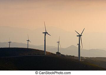 ferme, turbine, vent