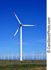 ferme, turbines, énergie, -, source, alternative, vent