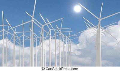 ferme, turbines, ciel, 3d, -, vent, animation, 4k