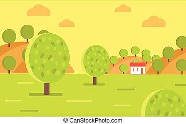 ferme, vecteur, fruit, paysage, jardin, village, ou