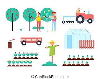 ferme, vecteur, tracteur, serre, illustration