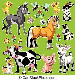 ferme, vert, ensemble, animaux, dessin animé