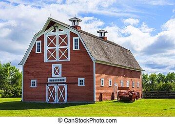 ferme, vieux, grange rouge