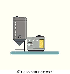 Fermentation and filtration process, beer brewing production vector Illustration on a white background