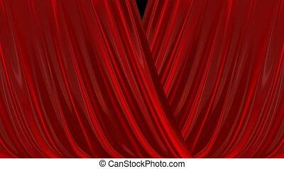 fermer, curtain., rouges, ouverture
