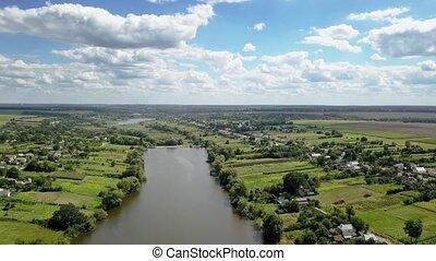 fermes, rivière, lanscape, banks., vidéo, aérien, campagne,...