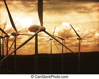 fermes vent, production électricité, électrique, énergie