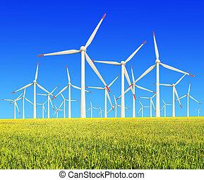 fermes vent, turbines, moderne, riz