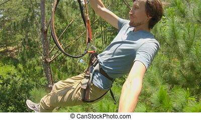 fermeture éclair, obstacles, escalade, il, corde, homme, ...