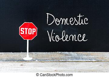 fermi violenza, domestico, scritto, lavagna, messaggio