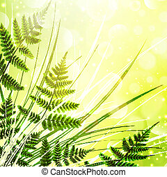 Fern Background - Green Fern Over Sunny Bright Background