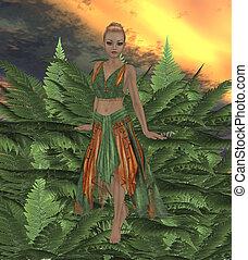 Fern Fae - Fae standing on fern plants in the forest