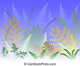 Background design of colorful fern leaves