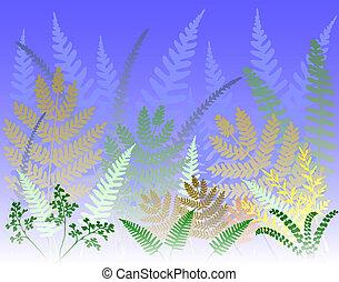 Fern forest - Background design of colorful fern leaves