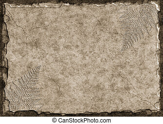 A raised stone tablet with fern fossil imprints.