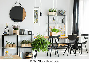 Fern in simple dining room
