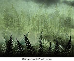 Fernery - Background illustration of green ferns and grunge