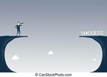 fernglas, begriff, risiko, geschaeftswelt, erfolgreich, aus, lücke, schauen, karriere, zukunft, mann, felsformation