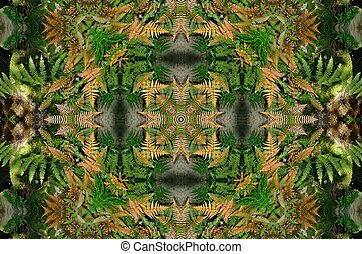 Ferns in formation - Green ferns recreated into a geometric...