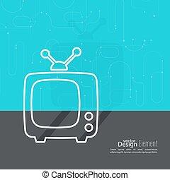 fernsehapparat, abstrakt, altes , antenna., hintergrund