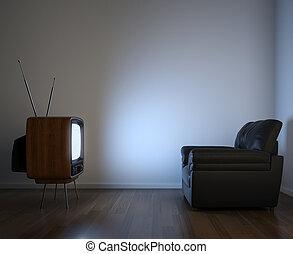 fernsehapparat, ansicht, seite, couch