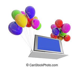 fernsehapparat, auf, farbe, balloons.