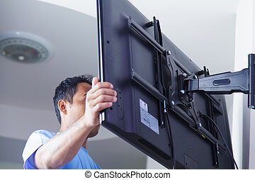 fernsehapparat, aufstellen, installieren