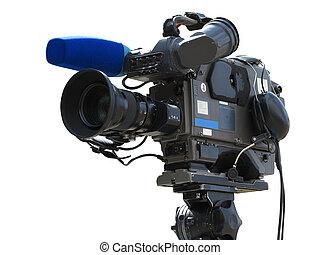 fernsehapparat, aus, freigestellt, stativ, fotoapperat,...