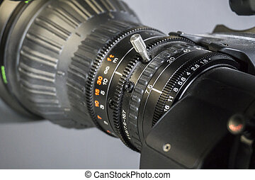 fernsehapparat, -, fokus, linse, fotoapperat, video, öffnung, studio