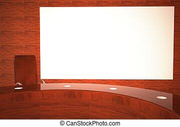 fernsehapparat, großer schirm, studio, weißes