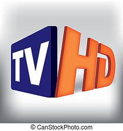 fernsehapparat, hd, logotype